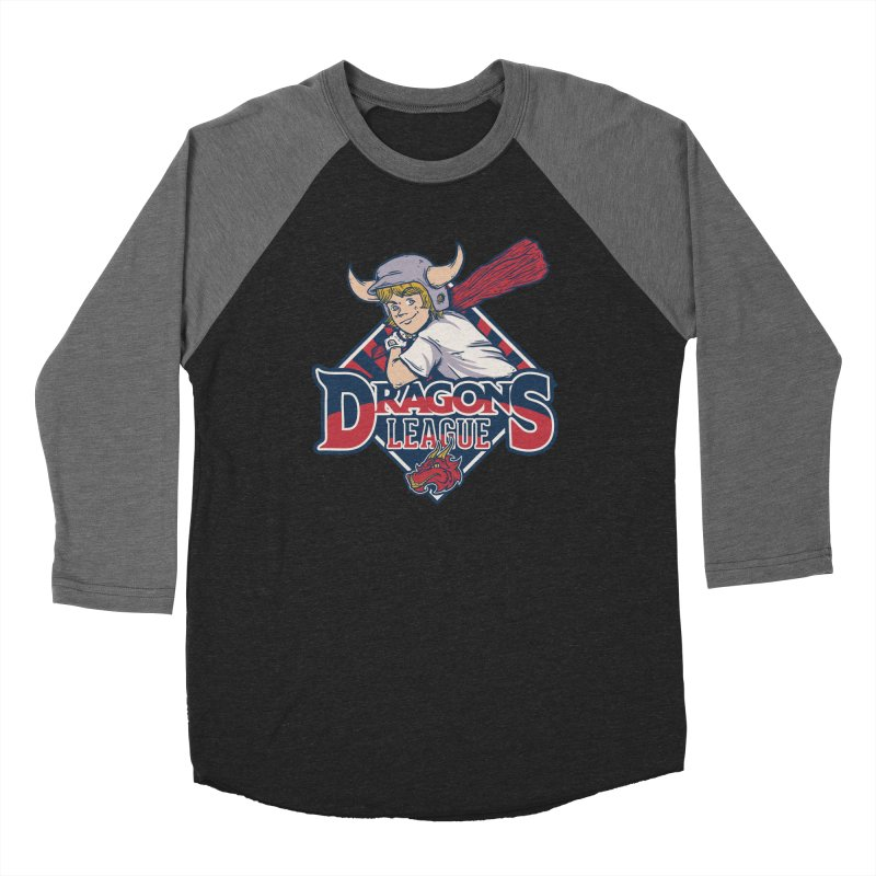 Dragons League in Men's Baseball Triblend Longsleeve T-Shirt Grey Triblend Sleeves by Red Bug's Artist Shop