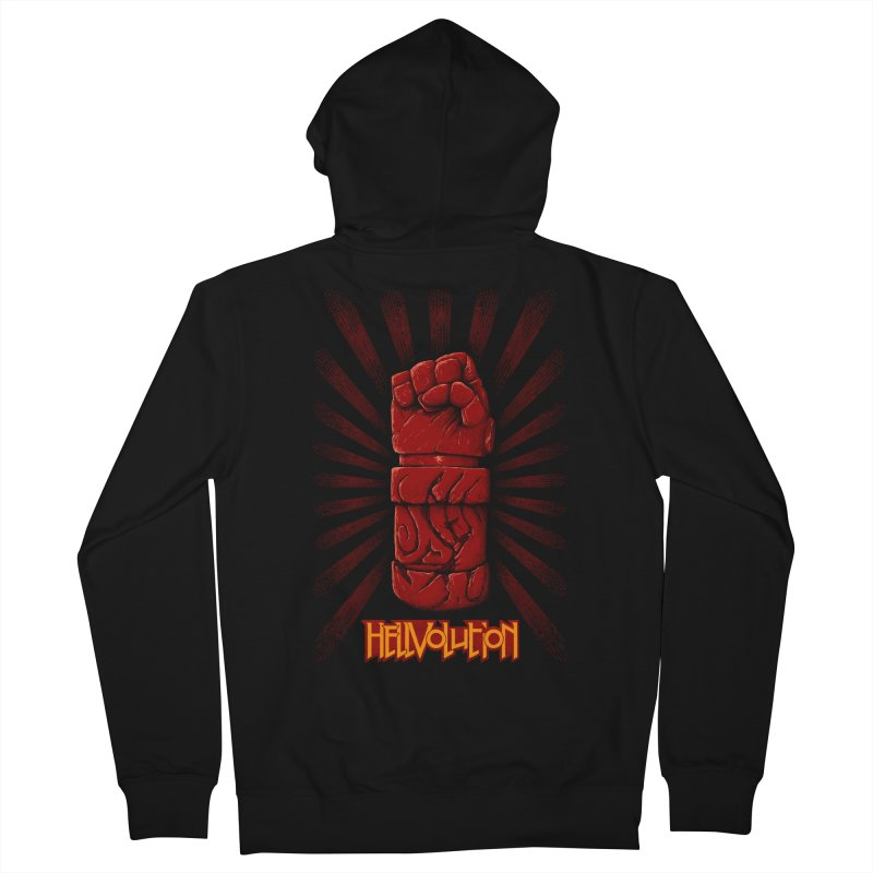 Hellvolution in Men's French Terry Zip-Up Hoody Black by Red Bug's Artist Shop