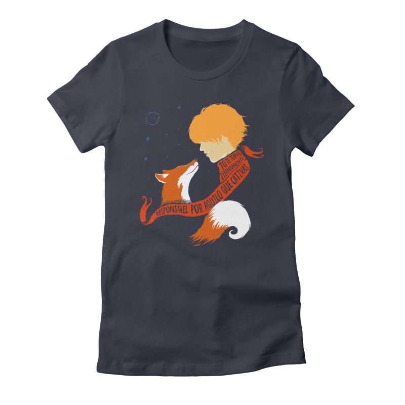 Pequeno Príncipe in Women's Fitted T-Shirt Midnight by Red Bug's Artist Shop