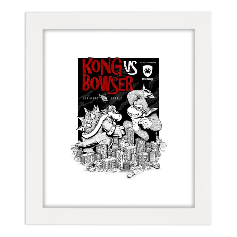 Donkey vs Bowser Home Framed Fine Art Print by Red Bug's Artist Shop