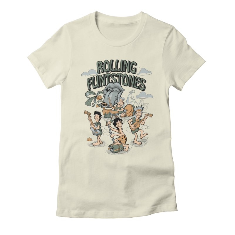 Rolling Flintstones in Women's Fitted T-Shirt Natural by Red Bug's Artist Shop