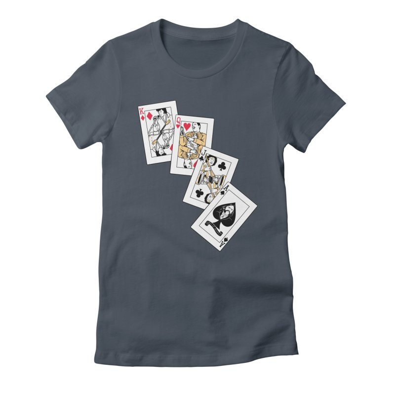 Rock Cards  in Women's Fitted T-Shirt Denim by Red Bug's Artist Shop