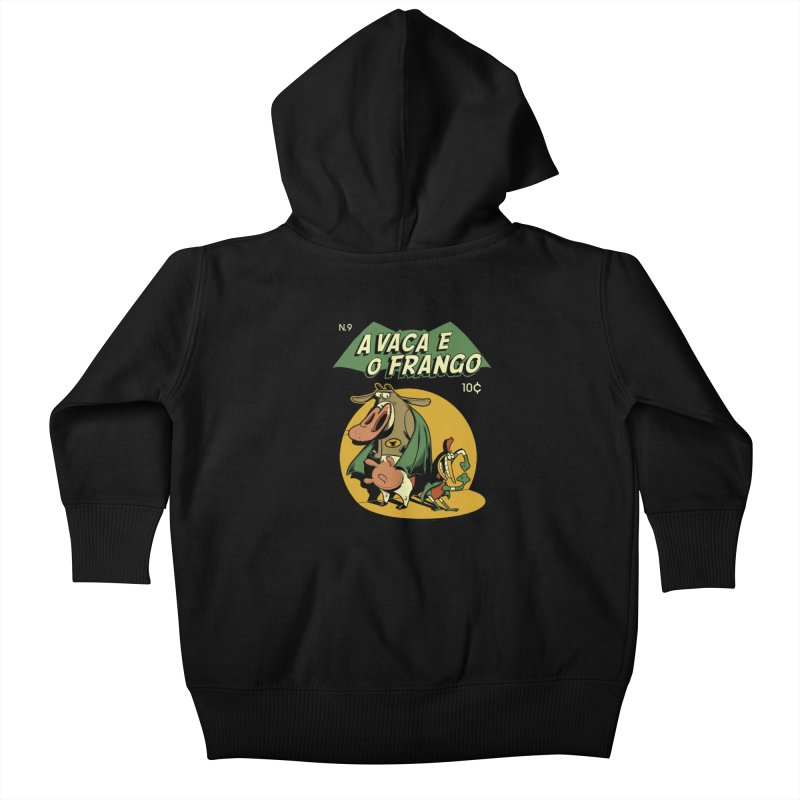 Cow and Chicken Kids Baby Zip-Up Hoody by Red Bug's Artist Shop