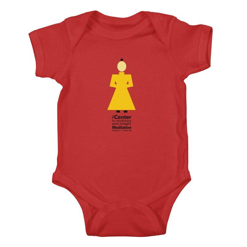 Centered Monk Kids Baby Bodysuit by Redding Meditation's Artist Shop