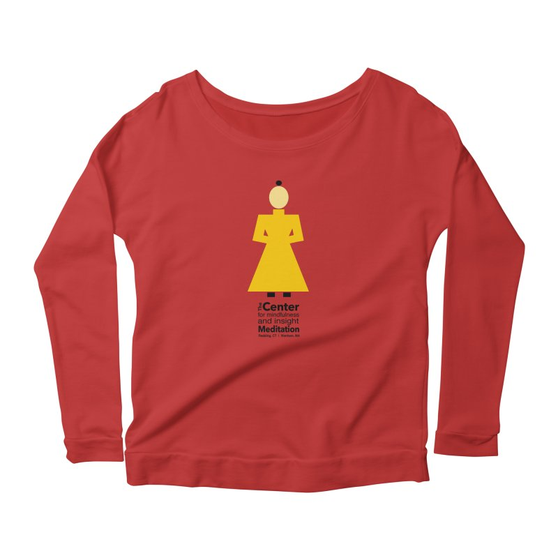 Centered Monk Women's Longsleeve Scoopneck  by reddingmeditation's Artist Shop