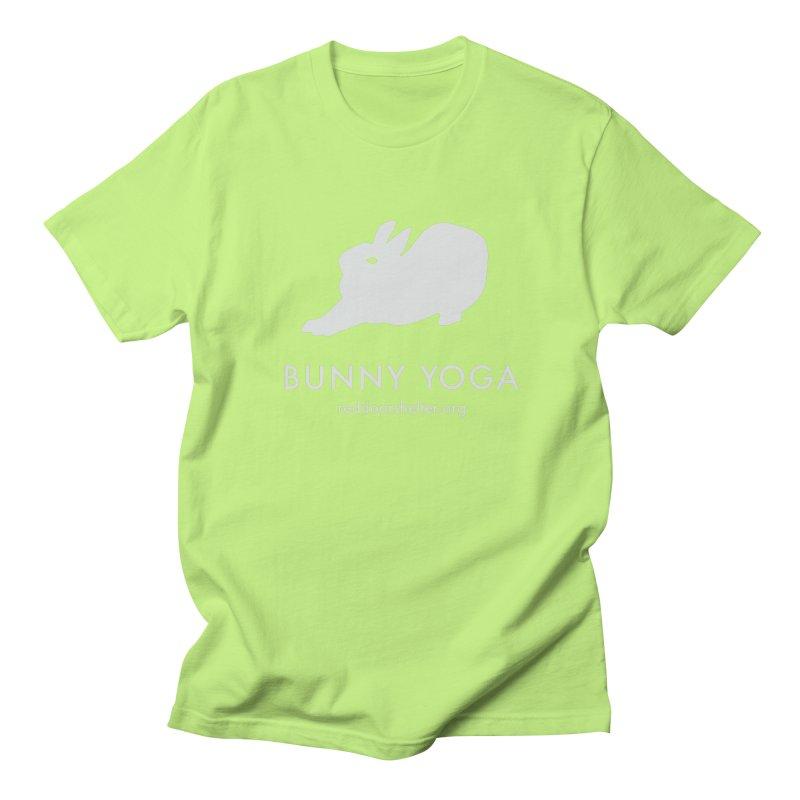 Bunny Yoga White Men's Regular T-Shirt by Red Door Animal Shelter's Artist Shop