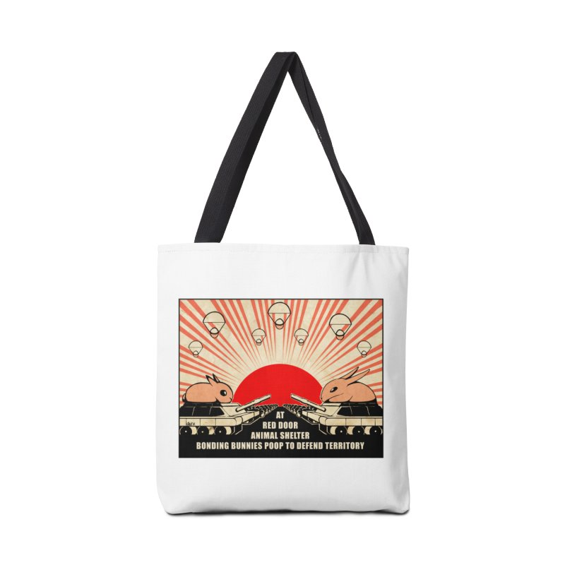 War Bunny Accessories Tote Bag Bag by Red Door Animal Shelter's Artist Shop