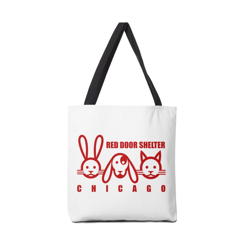 Dogcatrabbit red Accessories Tote Bag Bag by Red Door Animal Shelter's Artist Shop