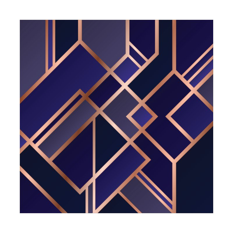Redharmonydesign Art Deco Pattern Cobalt Blue Black And