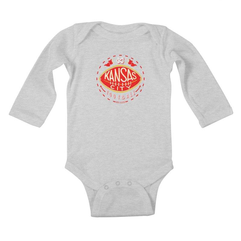 KC Football (Dark) Kids Baby Longsleeve Bodysuit by redleggerstudio's Shop