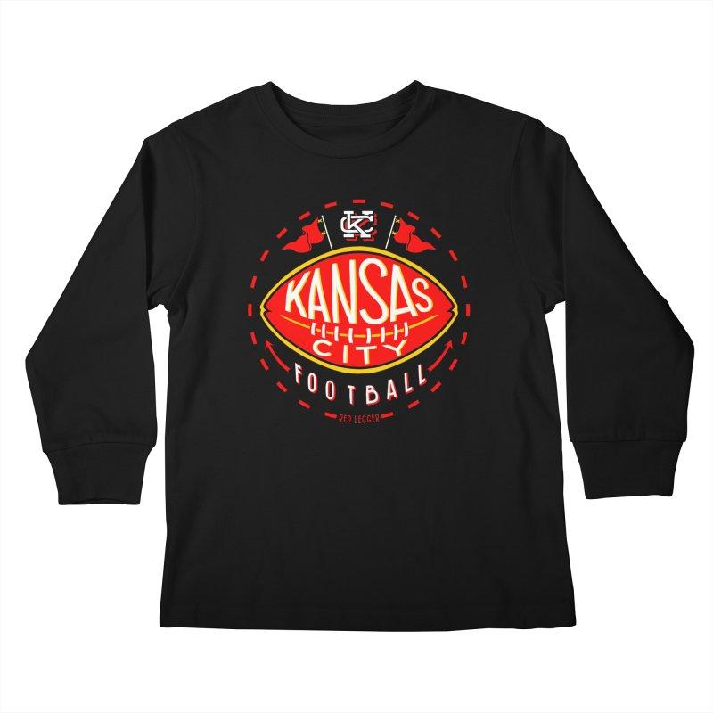 KC Football (Dark) Kids Longsleeve T-Shirt by redleggerstudio's Shop