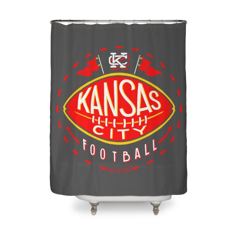 KC Football (Dark) Home Shower Curtain by redleggerstudio's Shop