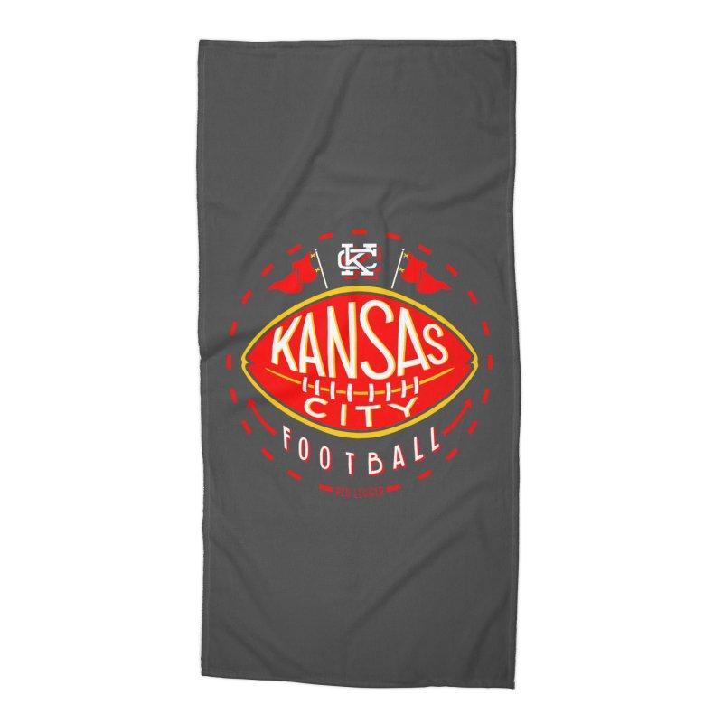 KC Football (Dark) Accessories Beach Towel by redleggerstudio's Shop