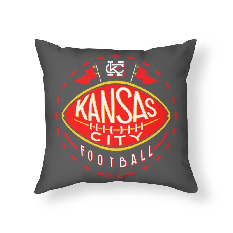 KC Football (Dark) Home Throw Pillow by redleggerstudio's Shop