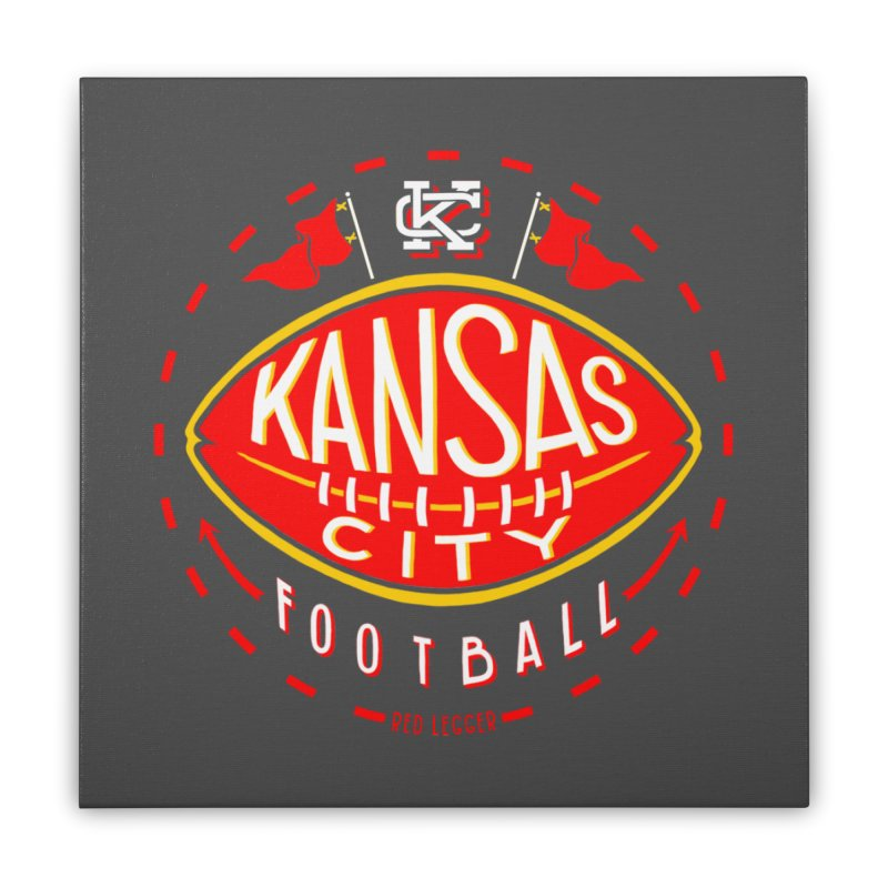KC Football (Dark) Home Stretched Canvas by redleggerstudio's Shop