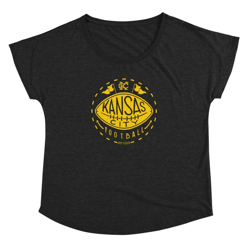 KC Football (Yellow) Women's Dolman Scoop Neck by redleggerstudio's Shop
