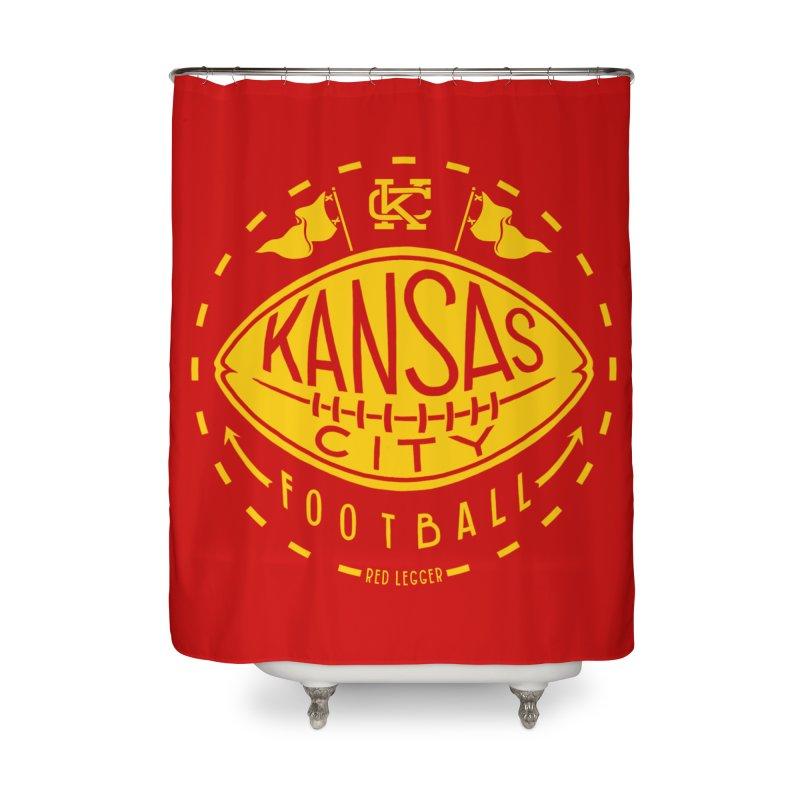 KC Football (Yellow) Home Shower Curtain by redleggerstudio's Shop