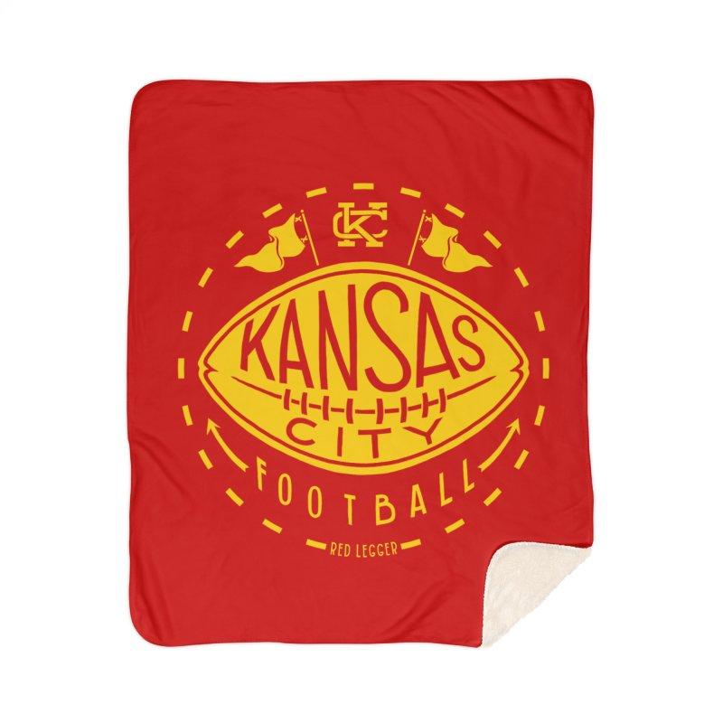 KC Football (Yellow) Home Sherpa Blanket Blanket by redleggerstudio's Shop