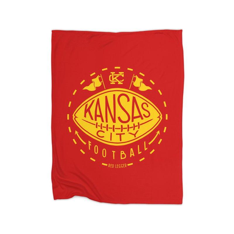 KC Football (Yellow) Home Fleece Blanket Blanket by redleggerstudio's Shop