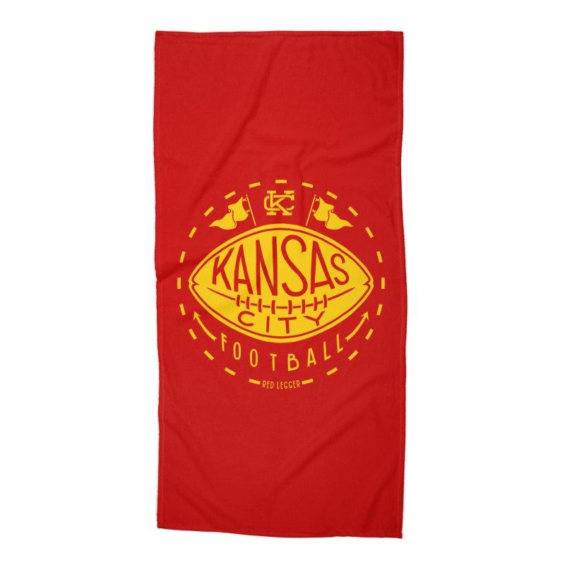 KC Football (Yellow) Accessories Beach Towel by redleggerstudio's Shop
