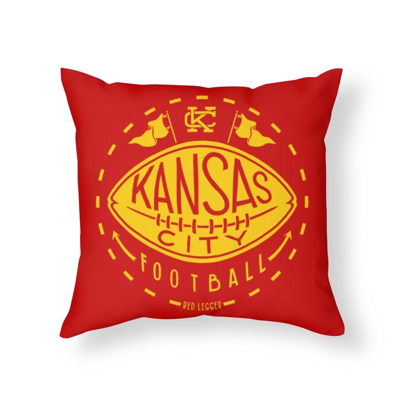 KC Football (Yellow) Home Throw Pillow by redleggerstudio's Shop