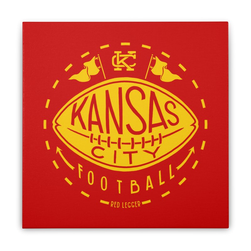 KC Football (Yellow) Home Stretched Canvas by redleggerstudio's Shop