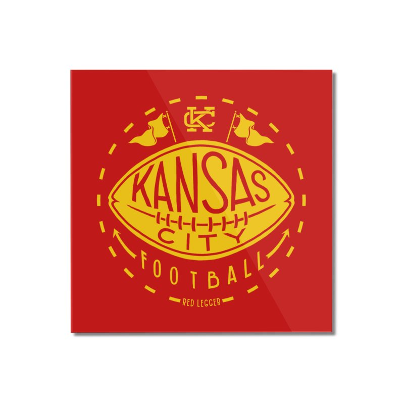 KC Football (Yellow) Home Mounted Acrylic Print by redleggerstudio's Shop