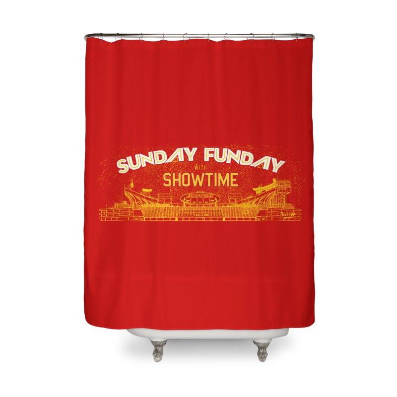 Sunday Funday Home Shower Curtain by redleggerstudio's Shop