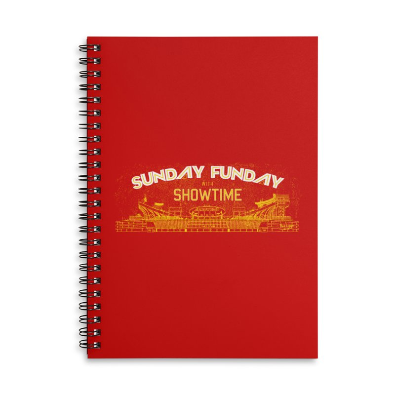 Sunday Funday Accessories Lined Spiral Notebook by redleggerstudio's Shop