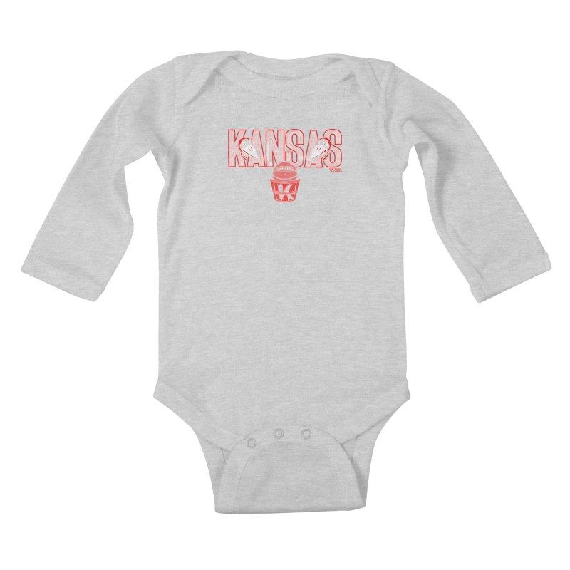 Peach Basket Birdies Kids Baby Longsleeve Bodysuit by redleggerstudio's Shop