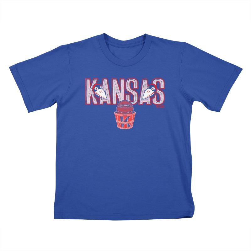 Peach Basket Birdies Kids T-Shirt by redleggerstudio's Shop