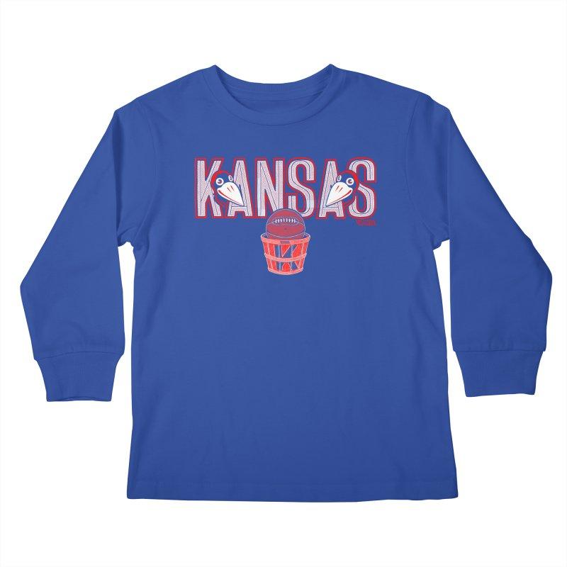 Peach Basket Birdies Kids Longsleeve T-Shirt by redleggerstudio's Shop