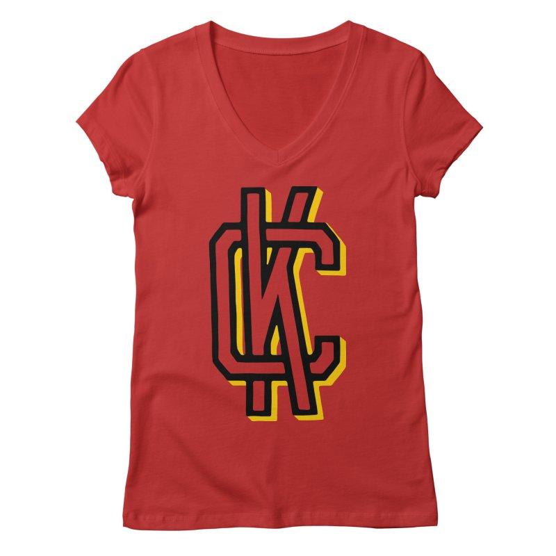 KC Logo Women's Regular V-Neck by redleggerstudio's Shop