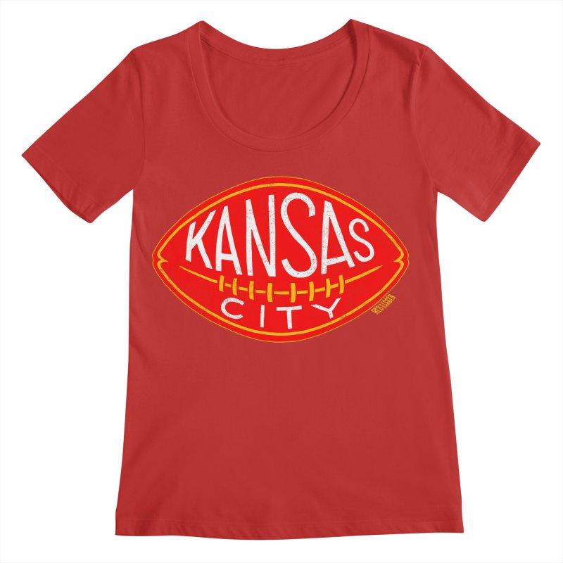 Kansas City Football Women's Regular Scoop Neck by redleggerstudio's Shop