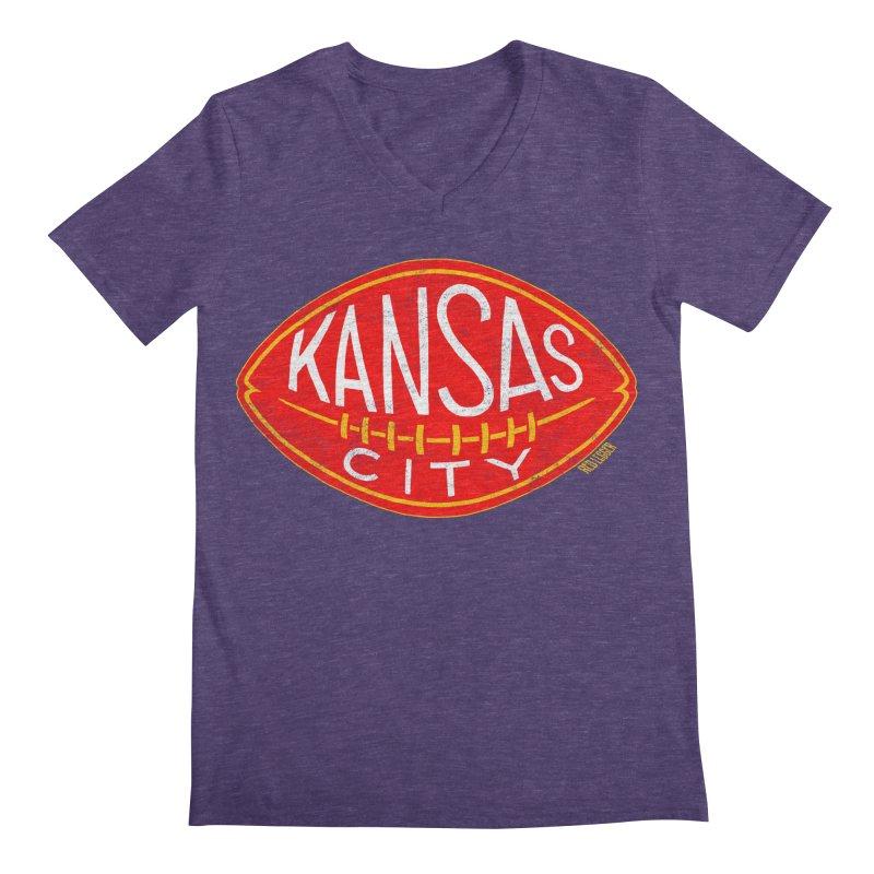 Kansas City Football Men's V-Neck by redleggerstudio's Shop