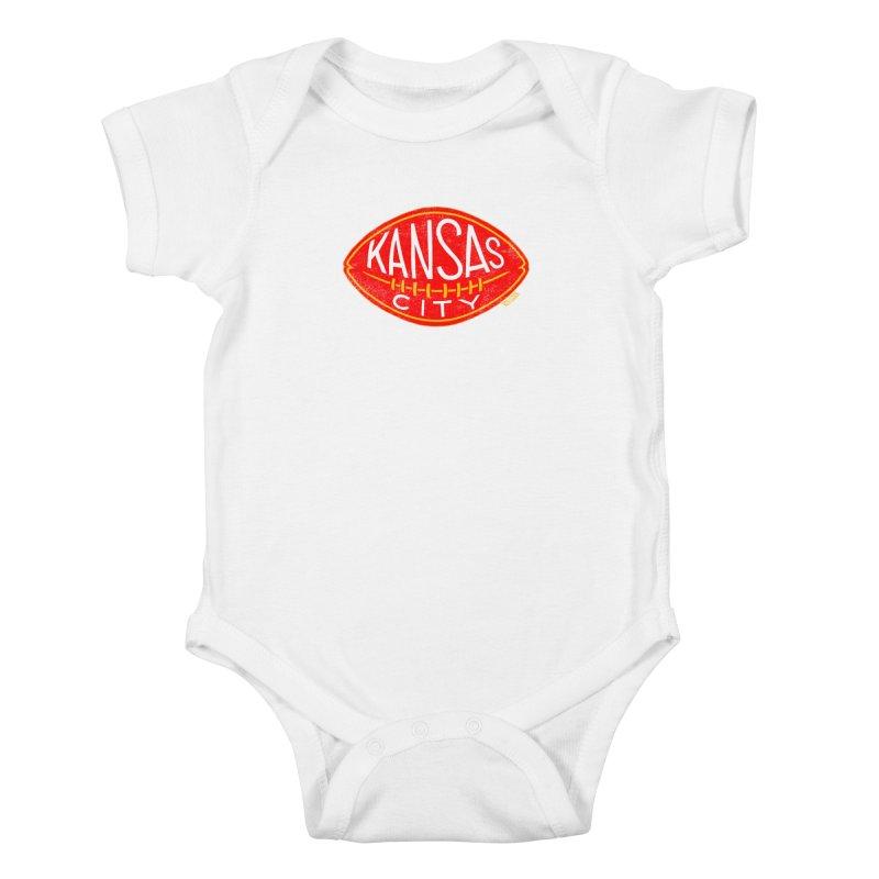 Kansas City Football Kids Baby Bodysuit by redleggerstudio's Shop