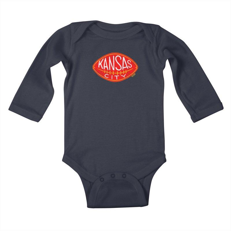 Kansas City Football Kids Baby Longsleeve Bodysuit by redleggerstudio's Shop