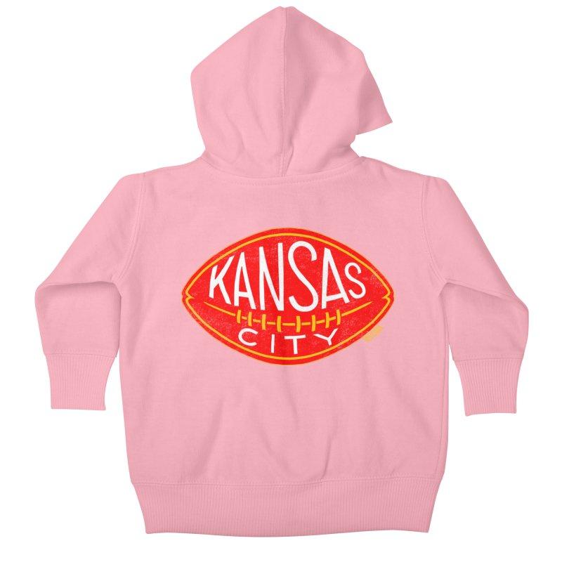 Kansas City Football Kids Baby Zip-Up Hoody by redleggerstudio's Shop