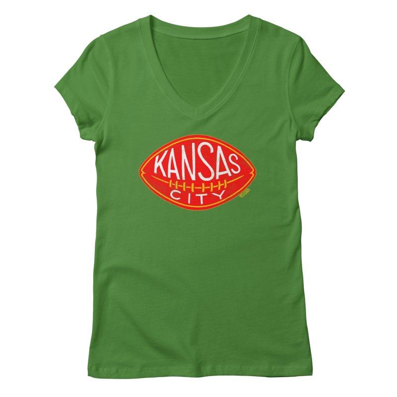 Kansas City Football Women's Regular V-Neck by redleggerstudio's Shop