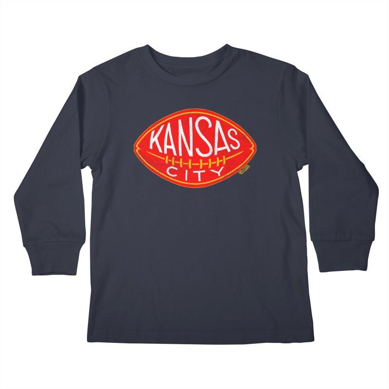 Kansas City Football Kids Longsleeve T-Shirt by redleggerstudio's Shop