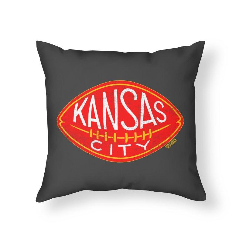 Kansas City Football Home Throw Pillow by redleggerstudio's Shop