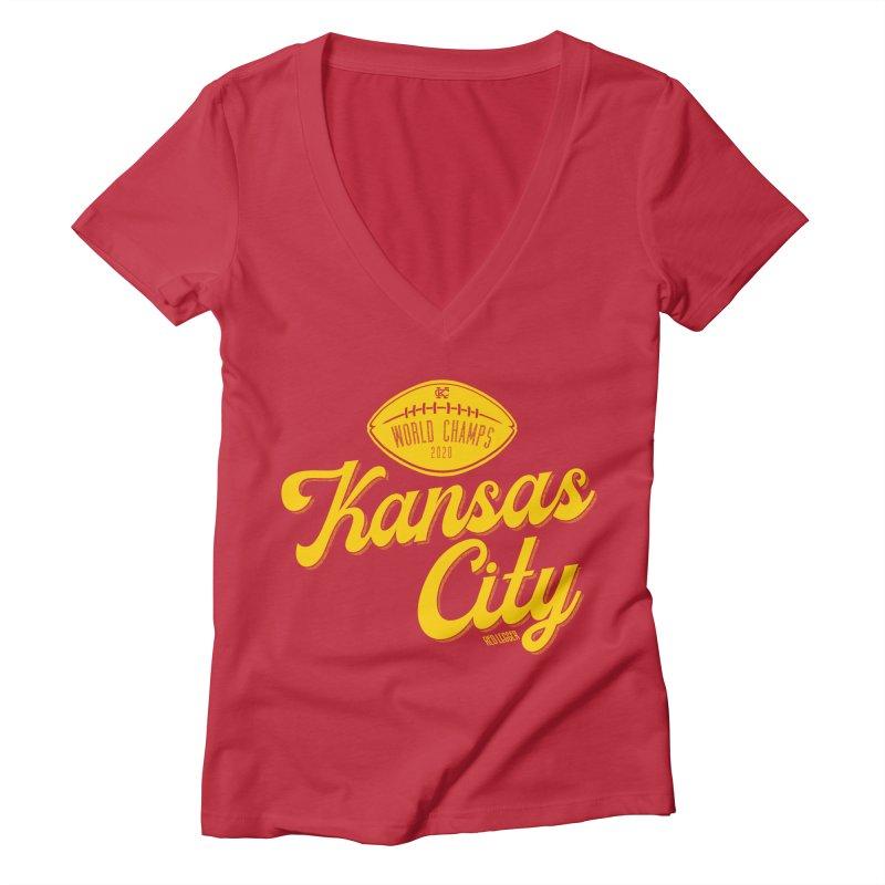 Kansas City Champs Women's Deep V-Neck V-Neck by redleggerstudio's Shop
