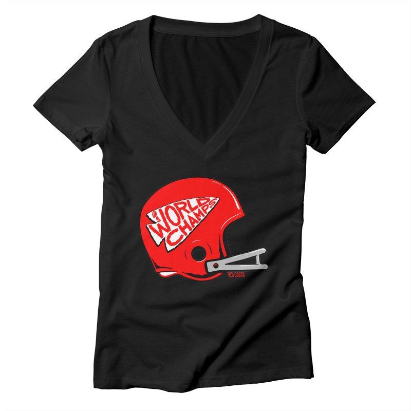 Champs Helmet Women's V-Neck by redleggerstudio's Shop