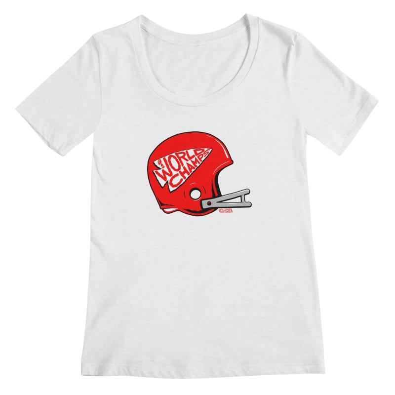 Champs Helmet Women's Regular Scoop Neck by redleggerstudio's Shop