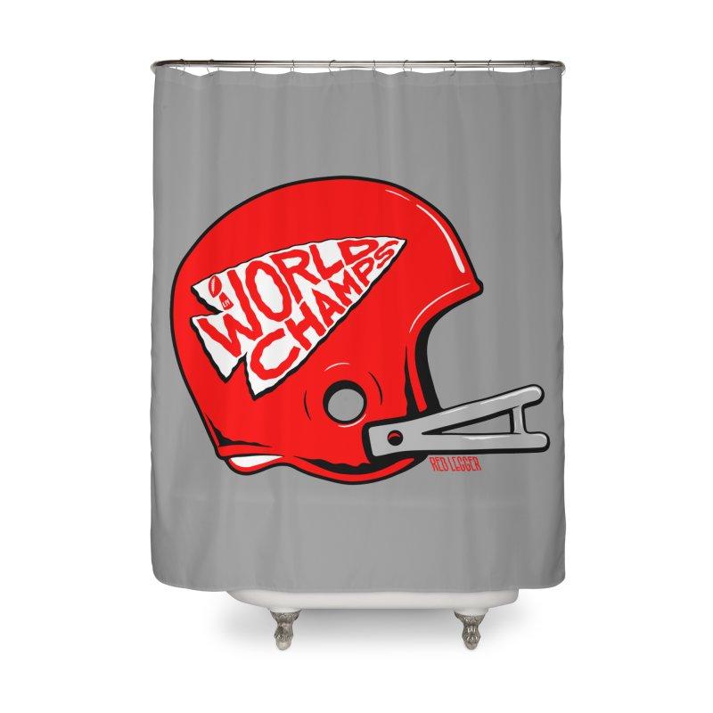 Champs Helmet Home Shower Curtain by redleggerstudio's Shop