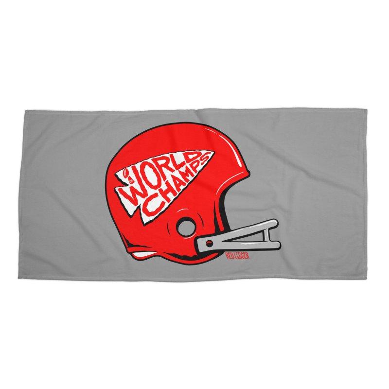 Champs Helmet Accessories Beach Towel by redleggerstudio's Shop