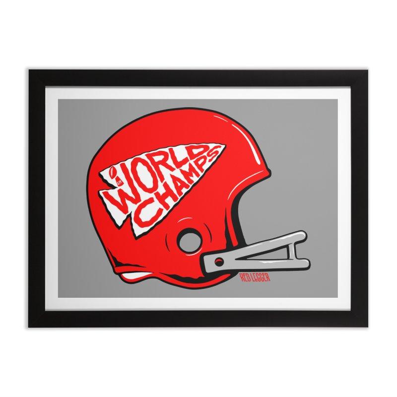 Champs Helmet Home Framed Fine Art Print by redleggerstudio's Shop