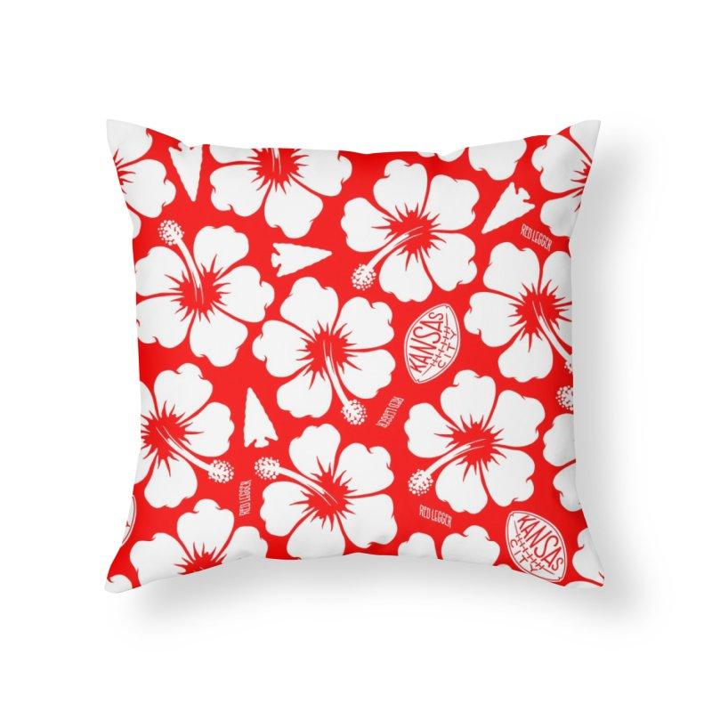 KC Big Red Hawaiian Home Throw Pillow by redleggerstudio's Shop