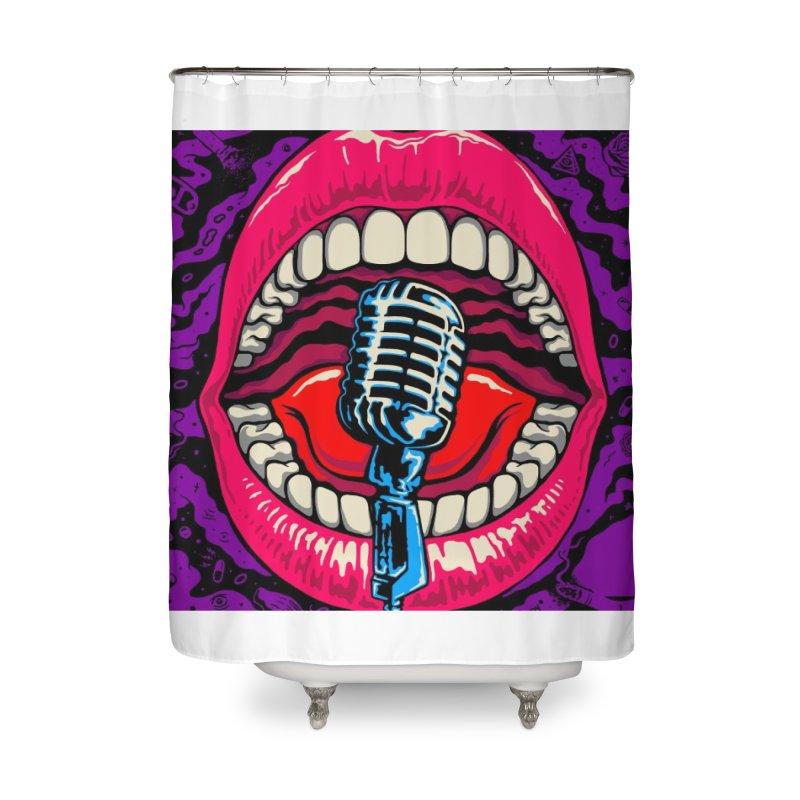 Hot Lips Home Shower Curtain by redleggerstudio's Shop