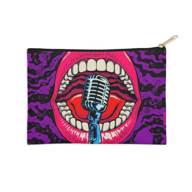 Hot Lips Accessories Zip Pouch by redleggerstudio's Shop